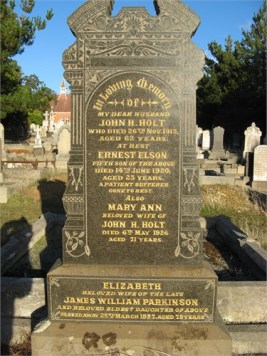 Headstone or John & Maryanne Holt: also son Ernest and daughter Elizabeth