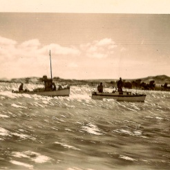The back boat is the Janet - owners, George and Gladys Robinson,